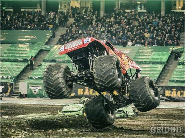 Alx Danielsson competes in Monster Jam at Friends Arena in  2016